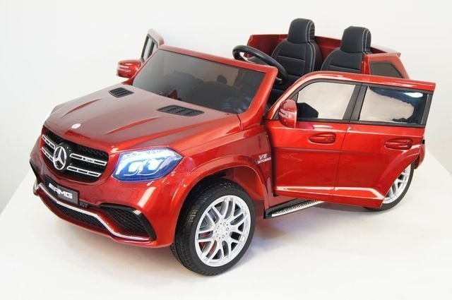 Электромобиль Mercedes-Benz GLS 63 AMG 4WD MP4 черный (сенсорный дисплей MP4, кондиционер, 2х местный, колеса резина, сиденье кожа, пульт, музыка)