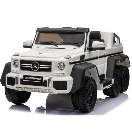 Электромобиль Mercedes-Benz G63-AMG 4WD белый (шестиколесный, привод на 4 колеса, музыка, пульт управления)